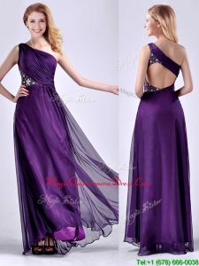 Elegant One Shoulder Criss Cross Purple Dama Dress with Beading