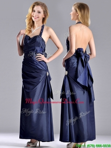 Luxurious Beaded Decorated Halter Top Dama Dress in Navy Blue