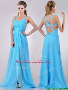 Luxurious Straps Criss Cross Beaded Long Dama Dress in Baby Blue