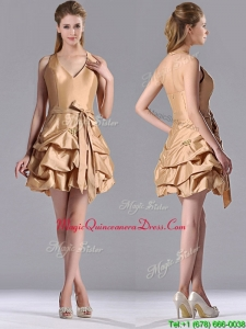 Most Popular Halter Top Champagne Dama Dress with Bubbles and Bowknot