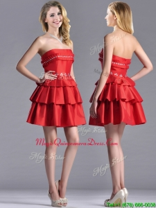 New Arrivals Red Strapless Dama Dress with Ruffled Layers and Beading