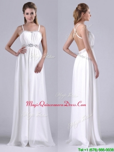 New Style Beaded Top and Waist White Dama Dress with Criss Cross