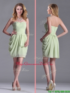 Simple Zipper Up Chiffon Yellow Green Dama Dress with Ruching