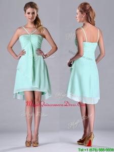 2016 Empire Straps Apple Green Ruching Short Dama Dress in Chiffon