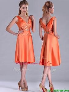 2016 New Arrivals V Neck Beaded Short Dama Dress in Orange Red