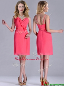 2016 Popular V Neck Zipper Up Short Dama Dress in Coral Red