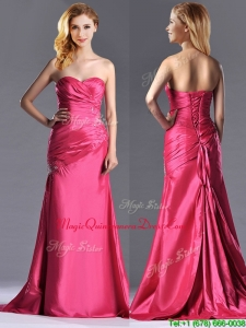2016 Pretty Beaded and Ruched Coral Red Column Dama Dress with Brush Train