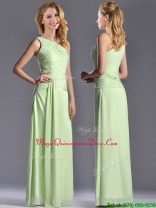 2016 Pretty One Shoulder Side Zipper Yellow Green Dama Dress with Ruching