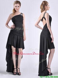 2016 Romantic High Low One Shoulder Black Dama Dress with Criss Cross