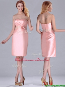 2016 Short Strapless Knee Length Pink Dama Dress with Hand Crafted and Beading