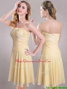 Elegant Applique Chiffon Yellow Short Dama Dress with Side Zipper