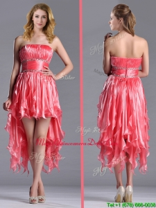 Elegant Strapless High Low Beaded Decorated Waist Dama Dress in Coral Red