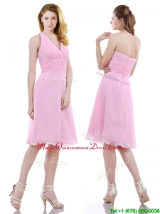 Latest Halter Top Knee Length Dama Dress in Baby Pink