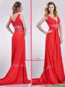 Beautiful V Neck Brush Train Chiffon Beaded Dama Dress in Coral Red