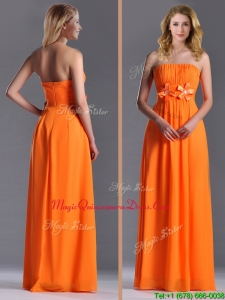 Empire Strapless Ruching Chiffon Long Dama Dress in Orange