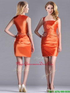 Lovely Column Square Side Zipper Short Dama Dress in Orange Red