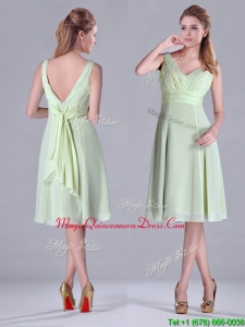 Lovely Tea Length Ruched and Belted Dama Dress in Yellow Green