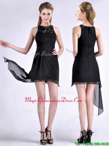 Modern Scoop Asymmetrical Black Chiffon Dama Dress with Beading