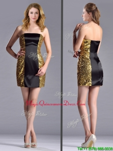 Popular Column Black and Gold Dama Dress in Sequins and Satin
