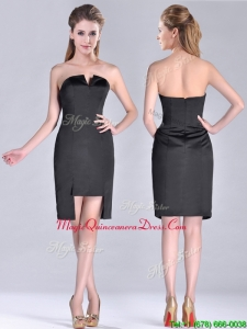 Fashionable Front Short Back Long V Neck Dama Dress in Black