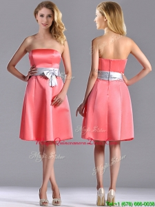 Best Selling Watermelon Knee Length Dama Dress with Silver Bowknot