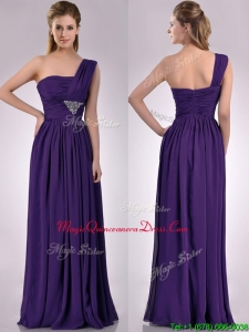 Discount Empire Beaded and Ruched Dark Purple Dama Dress with One Shoulder