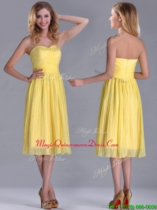 Discount Pleated Yellow Chiffon Dama Dress in Tea Length