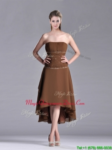 Exclusive Beaded Strapless High Low Brown Dama Dress in Chiffon