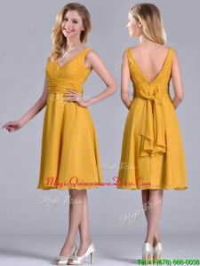 Latest Empire V Neck Ruched Gold Dama Dress in Chiffon