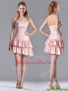 Low Price Ruffled Layers Short Dama Dress in Asymmetrical