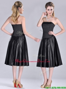 Most Popular Zipper Up Strapless Black Dama Dress in Tea Length
