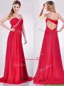 New Beaded Decorated One Shoulder Red Dama Dress with Brush Train