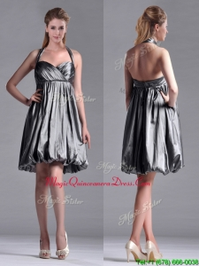 New Style Halter Top Taffeta Silver Dama Dress with Backless