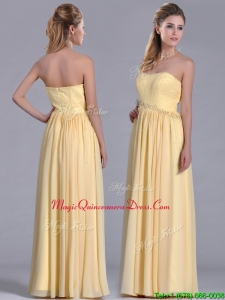 New Style Yellow Empire Long Dama Dress with Beaded Bodice