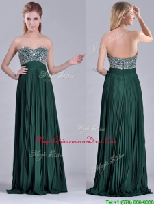 Popular Brush Train Beaded Bust and Pleated Dama Dress in Hunter Green
