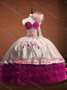 Customized Fuchsia and White Fast Delivery Quinceanera Dress with Ruffled Layers and Pattern