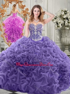 Elegant Chapel Train Lavender Formal Quinceanera Gown with Beading and Ruffles