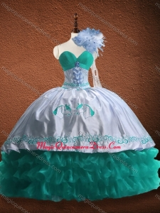 Elegant Embroidered and Patterned Organza and Taffeta Fast Delivery Quinceanera Dress in Turquoise and White