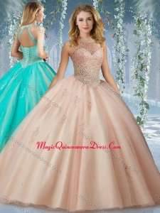 Fashionable Halter Top Champagne Quinceanera Dress with Appliques and Beading