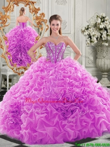 Lovely Puffy Skirt Beaded Bodice and Ruffled Formal Quinceanera Dress in Fuchsia