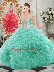 Popular Beaded and Ruffled Aqua Blue Quinceanera Dress with Detachable Straps