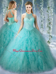 Popular Mint Quinceanera Formal Quinceanera Dress With Beaded Decorated Bodice and High Neck