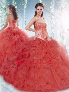 Pretty Brush Train Detachable Quinceanera Dresses with Beading and Ruffles