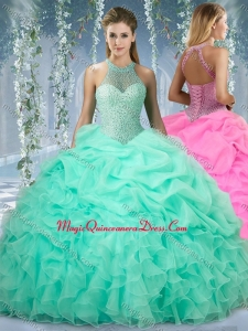 Beautiful Halter Top Beaded and Ruffled Quinceanera Gown in Mint