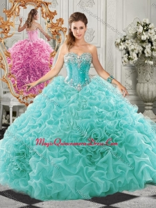 Classical Big Puffy Beaded and Ruffled Quinceanera Gown in Organza