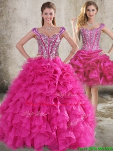 Classical Ruffled and Beaded Bodice Detachable Quinceanera Dress in Hot Pink