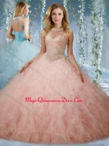 Elegant Beaded Bodice Baby Pink Quinceanera Dress with Halter Top