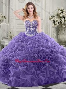 Gorgeous Beaded Bodice and Ruffled Quinceanera Sweet 15 Dress with Chapel Train