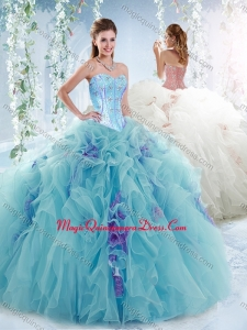 e6cb87d9784 Luxurious Visible Boning Aquamarine Detachable Quinceanera Skirts with  Beading