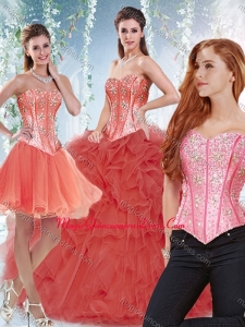 Popular Beaded Bodice and Ruffled Detachable Quinceanera Gowns in Coral Red
